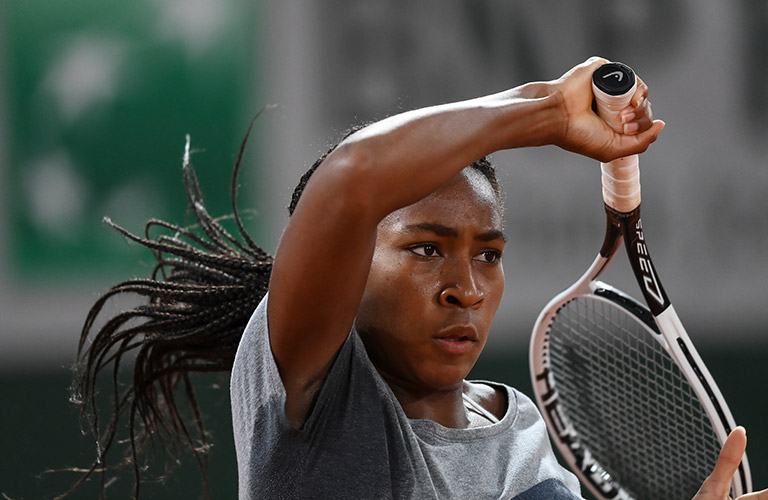 "Cori ""Coco"" Gauff at a training session at the French Open"