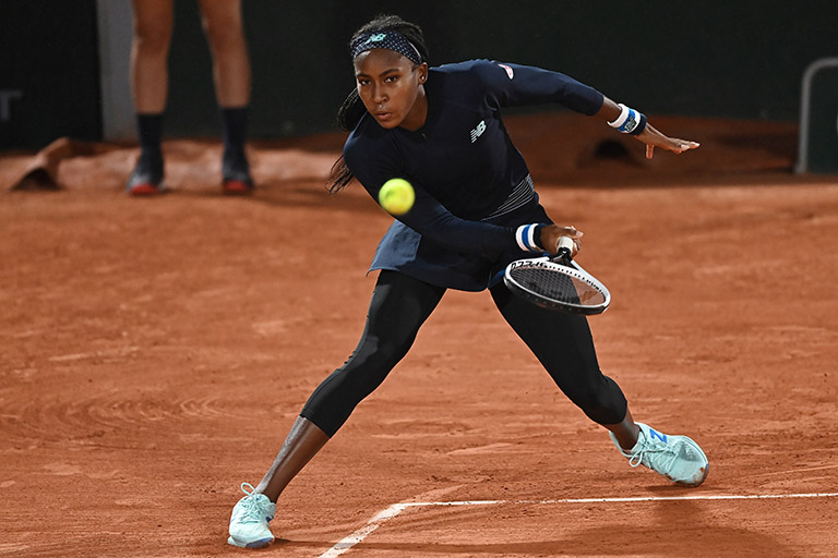 "Cori ""Coco"" Gauff slicing a forehand at the French Open"