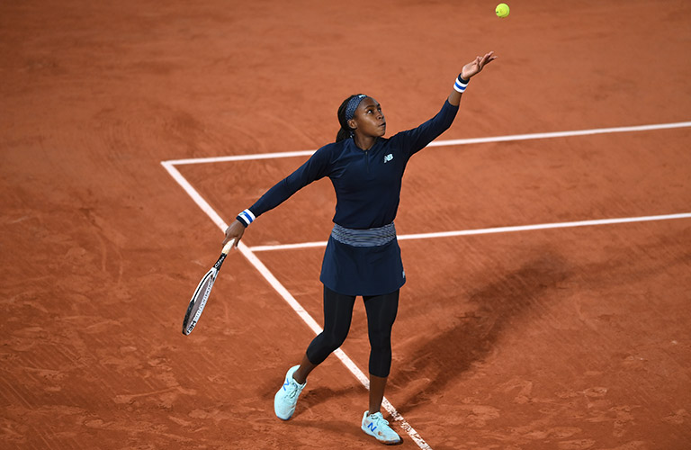 "Cori ""Coco"" Gauff serving at the French Open"