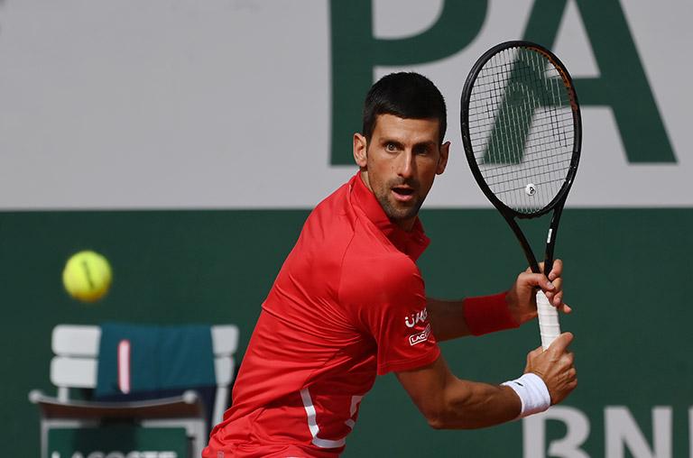 Novak Djokovic backhand at French Open