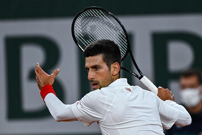 Novak Djokovic forehand at French Open