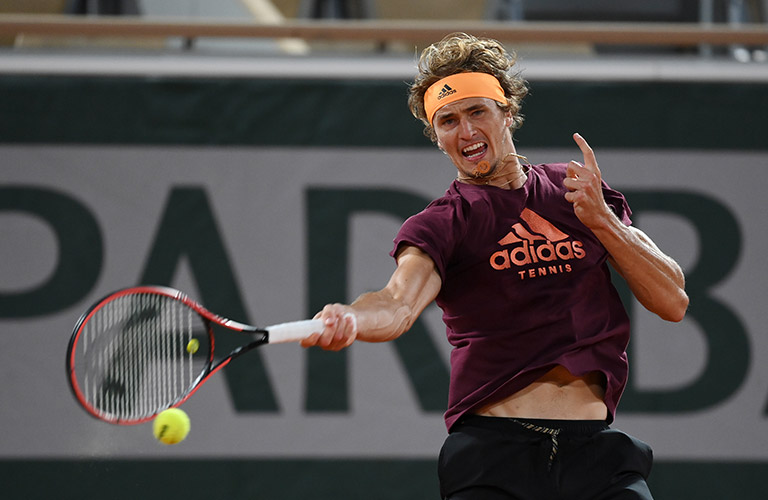 """Alexander """"Sascha"""" Zverev hitting a forehand at a training session"""