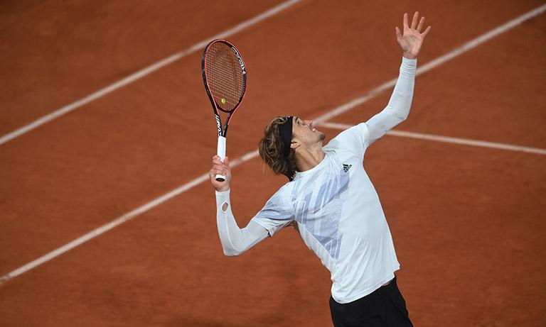 "Alexander ""Sascha"" Zverev serivng at the French Open"